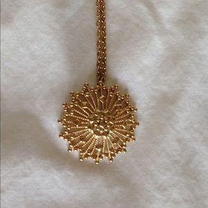 1960s sunburst gold pendant necklace